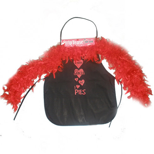 Mini Delantal Negro con Boa Roja