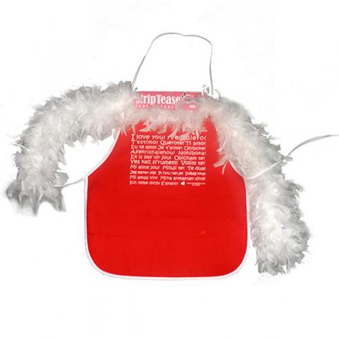 Mini Delantal Rojo con Boa Blanca