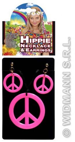 Set Hippie Colgante Y Pendientes Fucsia