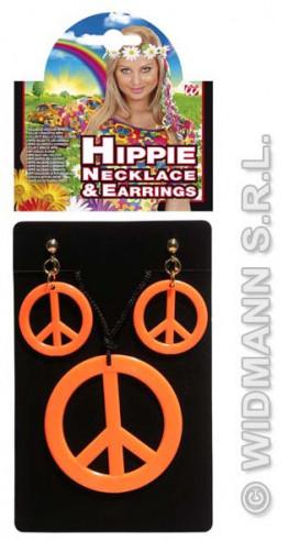 Set Hippie Colgante Y Pendientes Naranja