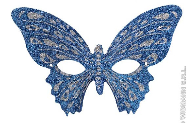 Antifaz Mariposa Purpurina Bicolor Azul