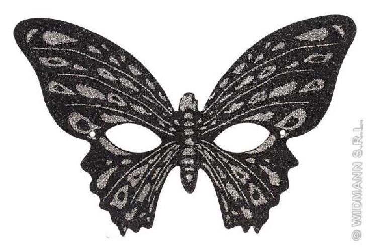Antifaz Mariposa Purpurina Bicolor Negro