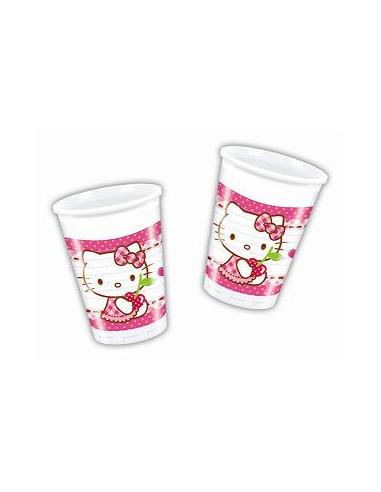 8 Vasos Cumpleaños Hello Kitty Corazones