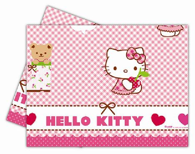 Mantel Cumpleaños Hello Kitty Corazones