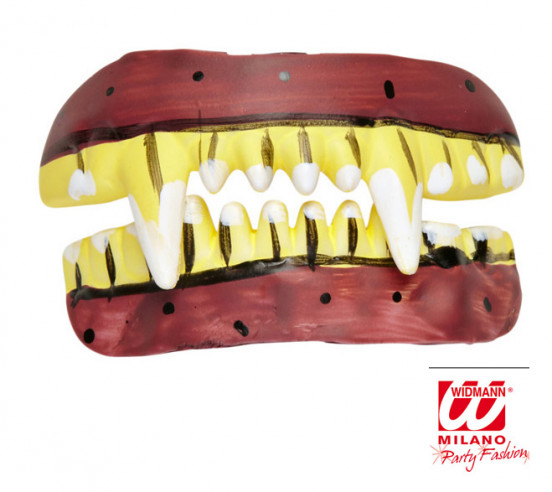 Dentadura de miedo granate y amarilla