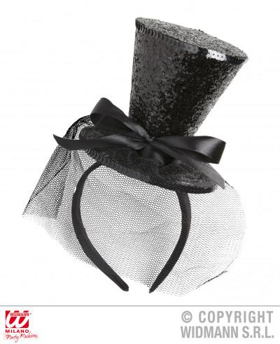 Mini sombrero negro con lazo y velo