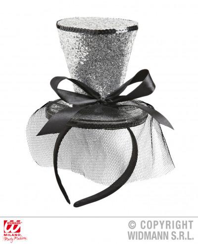 Mini sombrero plateado con lazo y velo