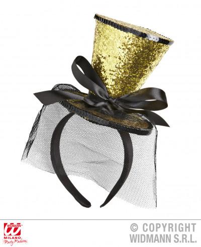 Mini sombrero dorado con lazo y velo