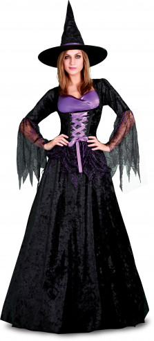 Disfraz de Bruja púrpura con falda ancha