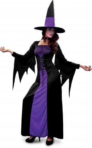 Disfraz de bruja púrpura con flecos