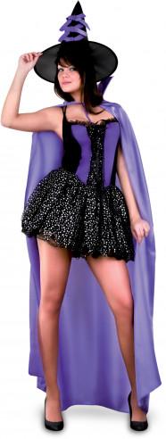 Disfraz de bruja con capa morada