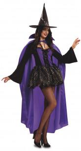 Disfraz Bruja Morada con capa