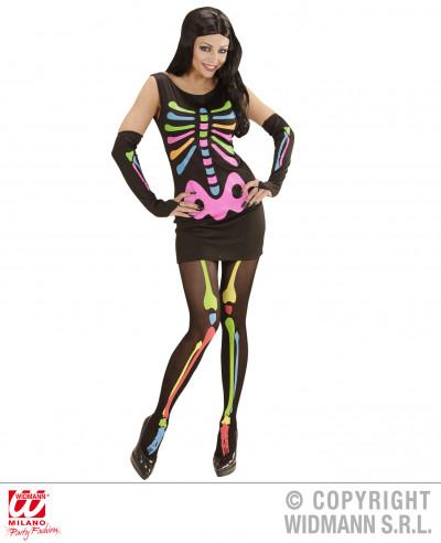 Disfraz esqueleto mujer neón