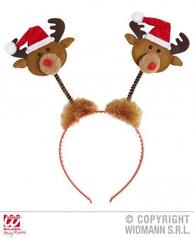 Cuernos de reno con gorro de Papá Noel