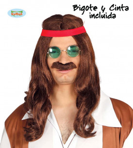 Peluca y bigote Hippie