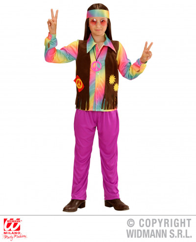 Disfraz hippie niño flower power