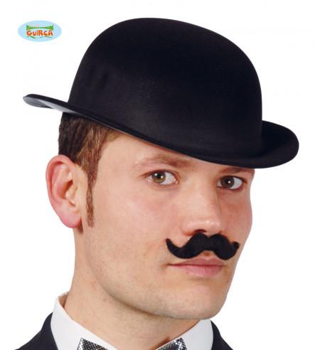 Sombrero Bombín Flocado Negro