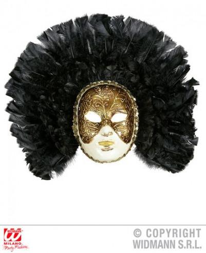 Máscara de lujo con plumas negras
