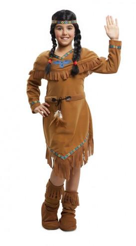 Disfraz de india niña marrón