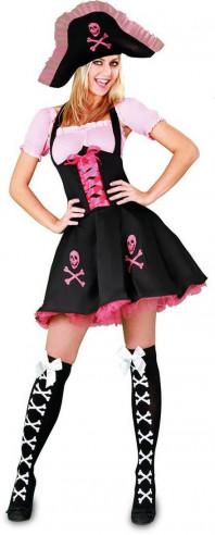 Disfraz de pirata mujer rosa