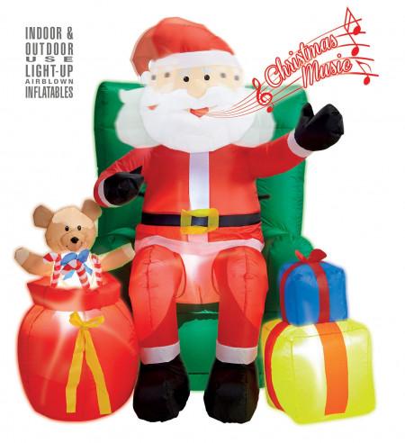 Papa Noel hinchable con luz y sonido