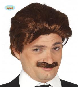 Peluca y bigote castaños