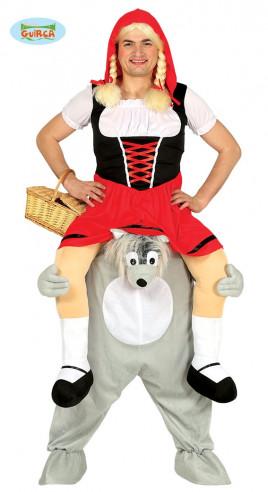 Disfraz caperucita montando lobo