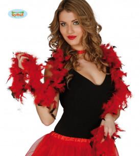 Boa plumas roja y negra