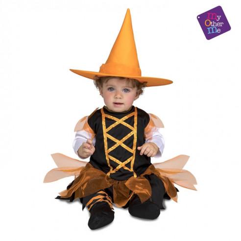 Disfraz de brujita bebé naranja