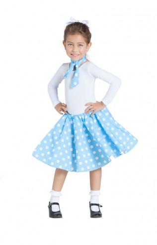 Disfraz falda y pañuelo azul años 50...