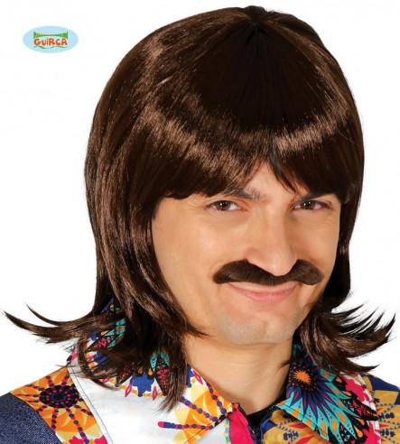 Peluca castaña con bigote