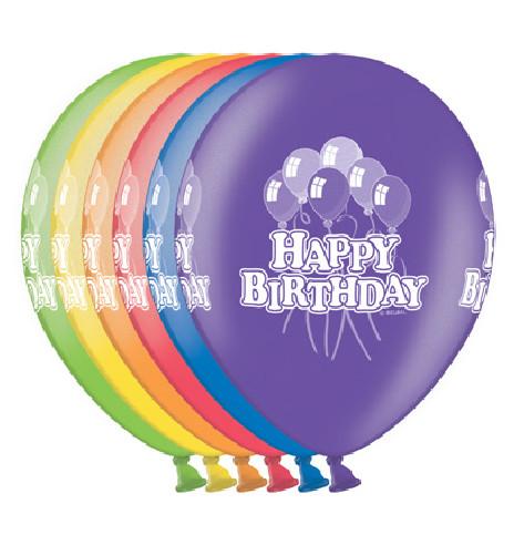 6 Globos Happy Birthday 30 cm