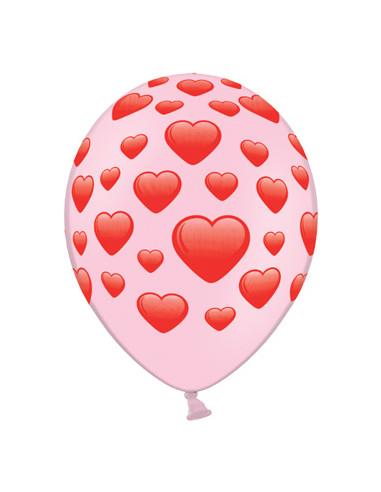 6 Globos con corazones rosas