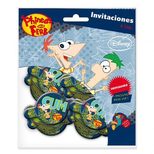 6 Invitaciones Cumpleaños Phineas &...