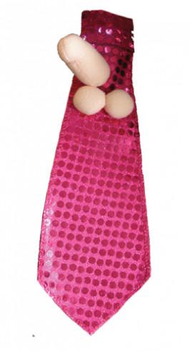 Corbata Lentejuelas con Pene de Peluche